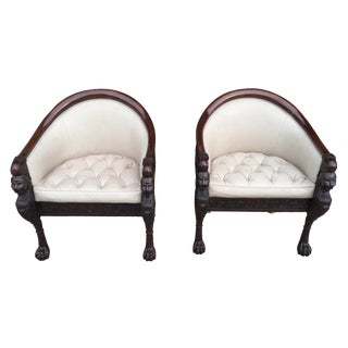 Baker Furniture Stately Homes Collection Lion Head Pull Up Chairs - Pair