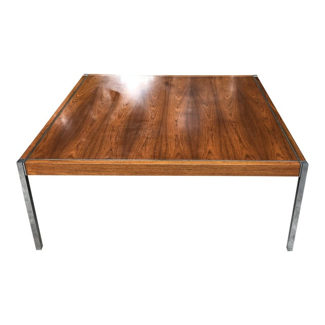 Knoll Rosewood & Chrome Coffee Table - Image 1 of 8