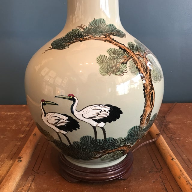 Vintage Asian Celadon Ceramic Lamp - Image 3 of 8