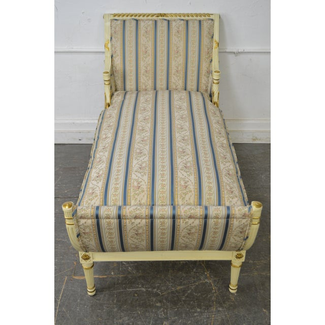 Meyer Gunther Martini French Louis XVI Swan Carved Painted Recamier Chaise Lounge - Image 8 of 10