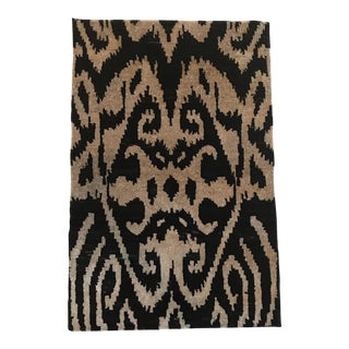 Black Ikat Silk Rug -