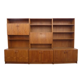 Danish Mid-Century Modern Teak Wall Unit Bookcases - Set of 3