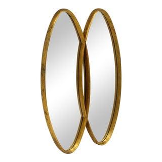 Dual Interlocking Oval Gold Frame Mirror