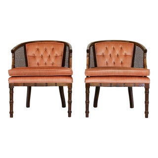Caned Barrel Chairs - A Pair