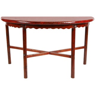 19th Century Red Chinese Demilune Table