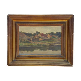 England Cottage On the River Avon Painting