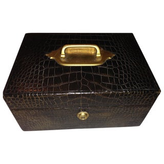 English Crocodile Skin Jewelry Box