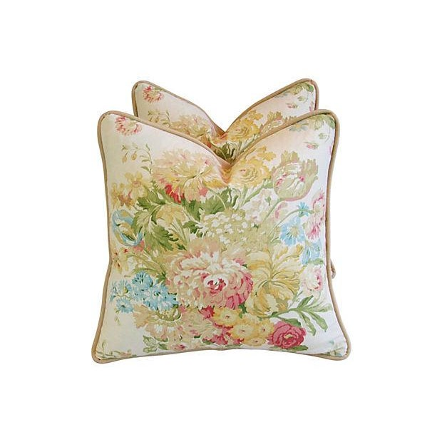 Image of Portfolio Pastel Spring Floral Pillows - Pair
