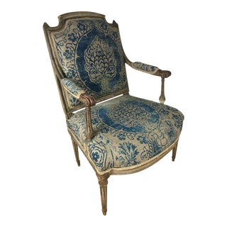 18th Century Louis XVI Bergere Chair With Fortuny Upholstery