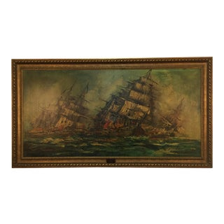 Framed Ship's Master Painting, 1982