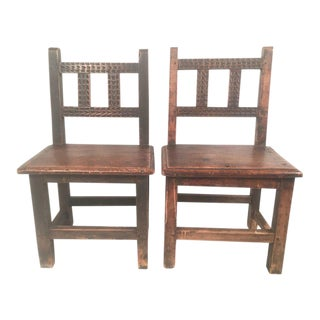 Pair of Small Spanish Colonial Carved Walnut Chairs