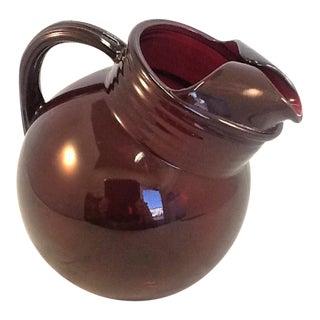 Vintage Cranberry Glass Pitcher. Bulbous Art Deco Pitcher