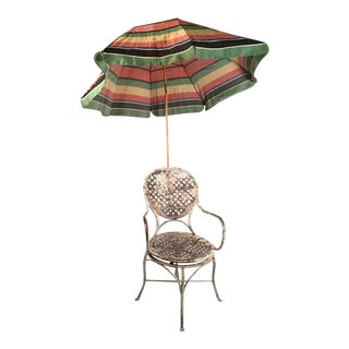 French Garden Chair with Adjustable and Removable Umbrella, circa 1920s
