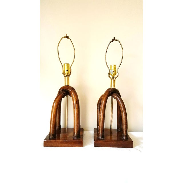 Image of Palm Beach Regency Brass and Rattan Lamps - Pair