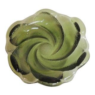 Mid-Century Modern Green Murano Glass Ashtray.