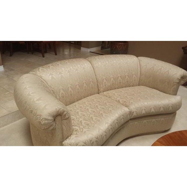White Brocade Curved Sofa Chairish