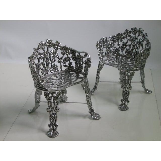 Image of Cast Aluminum Patio Chairs - Pair