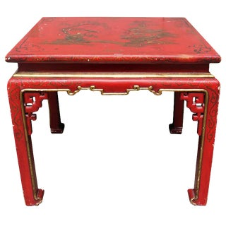 A Red Lacquered Chinoiserie Table