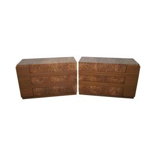 Mid-Century Burl Wood Dressers - A Pair