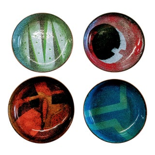 Mid-Century Modern Enamel on Copper Small Bowls - Set of 4