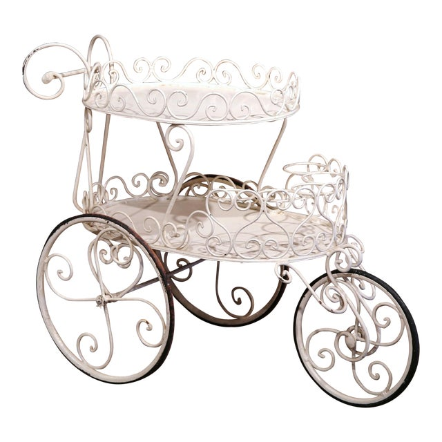 Early 20th Century French Painted Iron Two-Tier Bar Cart on Wheels for Patio - Image 1 of 8