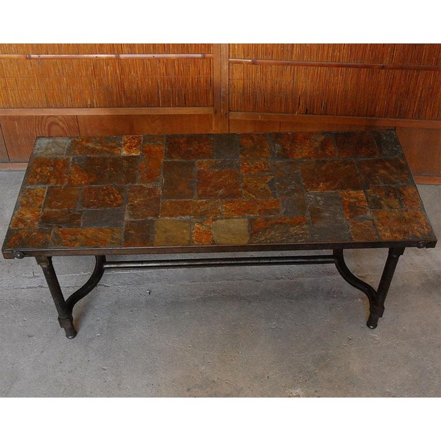 Jacques Adnet French Mid-Century Slate Coffee Table - Image 3 of 7