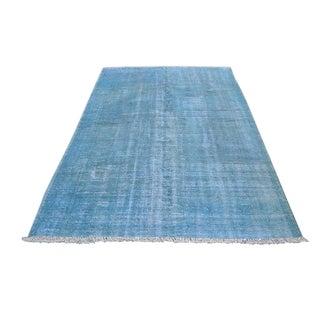 Turkish Oushak Blue Overdye Rug - 5′6″ × 7′10″