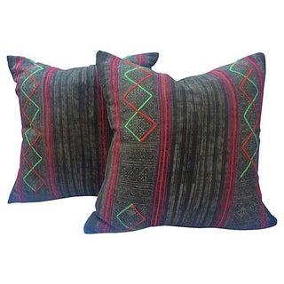 Brown Tribal Batik Pillows - Pair