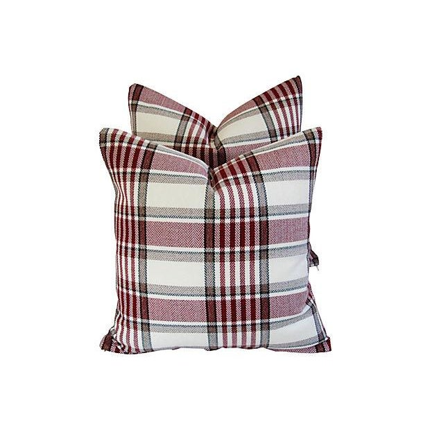Custom Red, White & Black Plaid Pillows - A Pair - Image 3 of 7