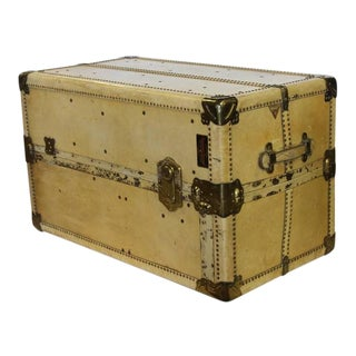 Large Antique Vellum Steamer Trunk/ Coffee Table