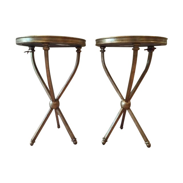 Pearson Mitchell Gold Metal Tripod Tables - A Pair - Image 1 of 4