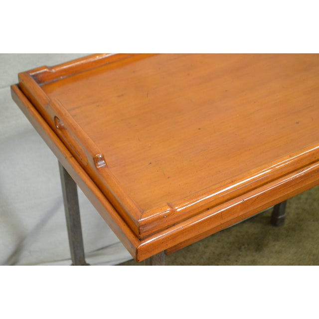 Custom Pair of Iron Base Tray Top Side Tables - Image 10 of 11