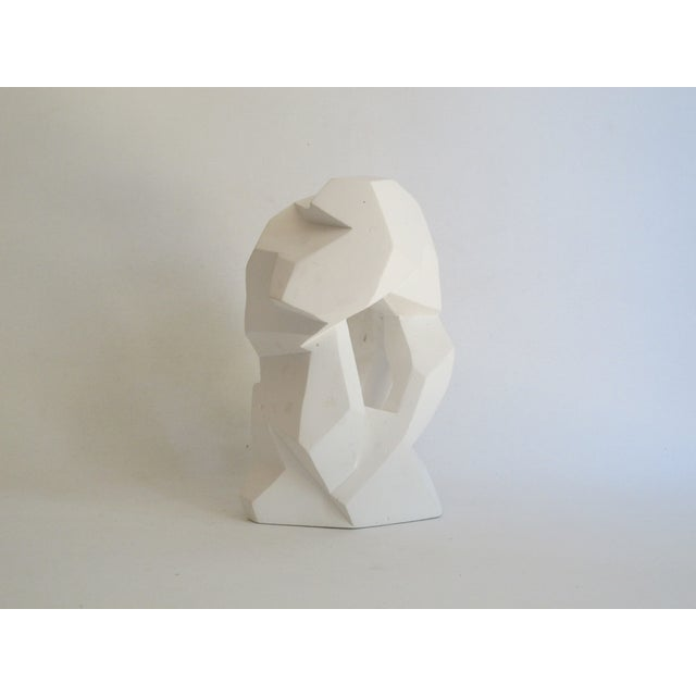 Abstract Cubist White Plaster Statue - Image 2 of 11