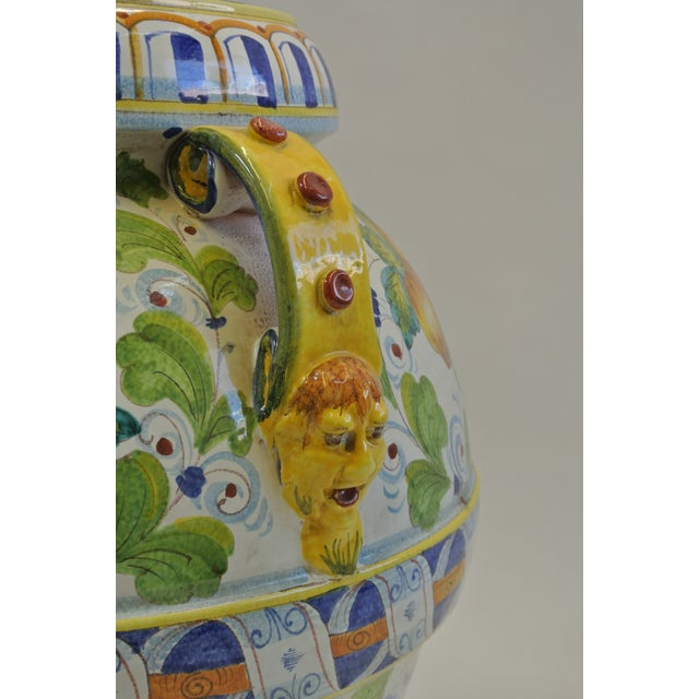 Italian Majolica Fruit Painted Urn - Image 5 of 7