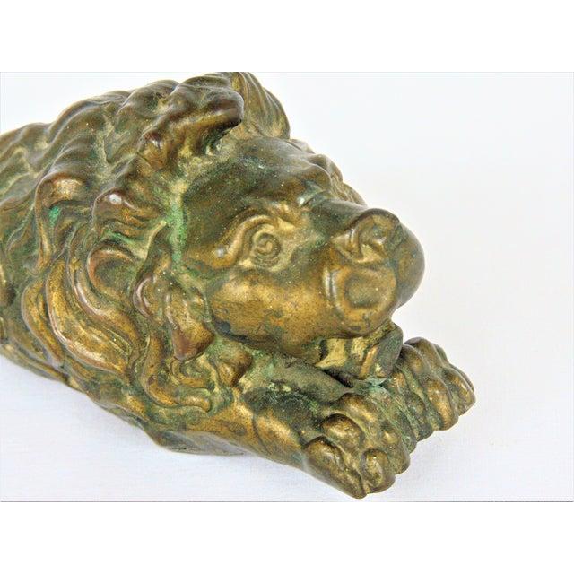 Antiqued Brass Lion Doorstop - Image 4 of 5