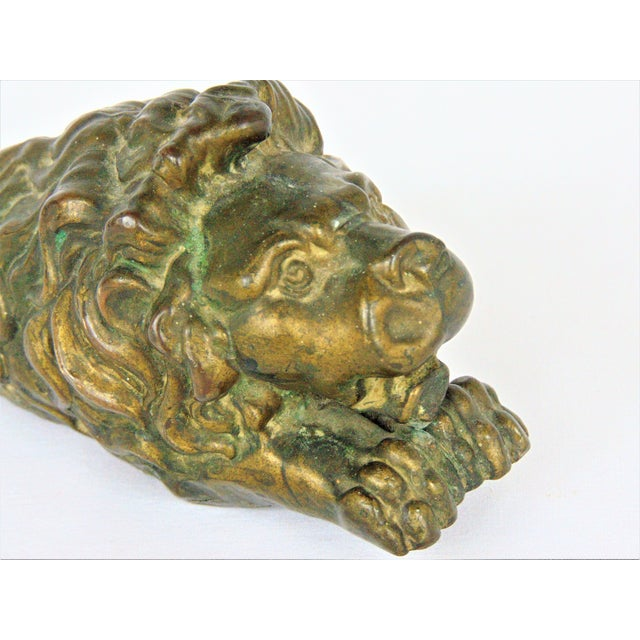 Image of Antiqued Brass Lion Doorstop