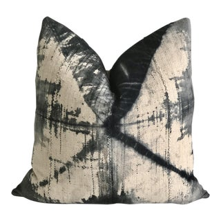 Vintage Mud Cloth Tie-Dye and Linen Pillow