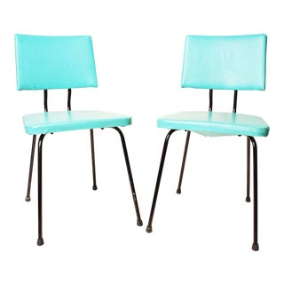 Mid-Century Modern Turquoise Dining Chairs - A Pair