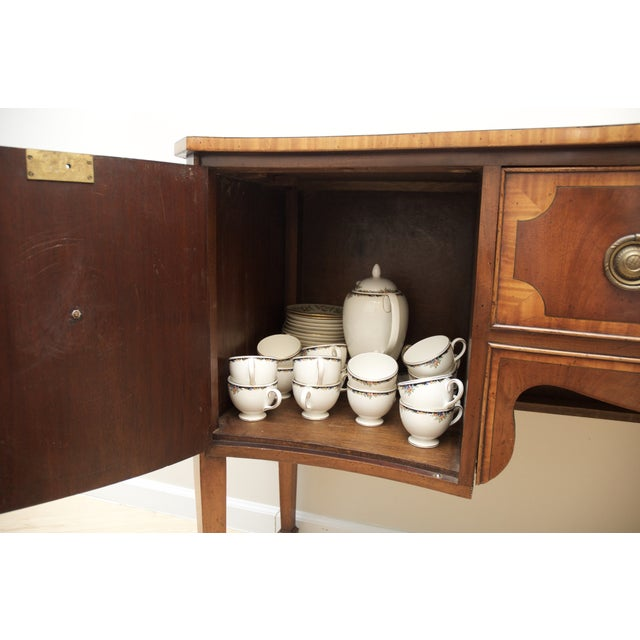 Image of Antique Mahogany Serpentine Buffet Sideboard