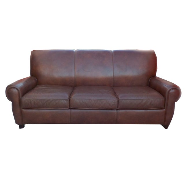 Distressed Leather Sofa By Barcalounger Chairish