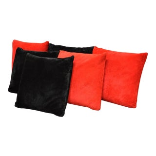 Vintage Mid-Century Modern Plush Red & Black Floor Throw Pillows - Set of 6