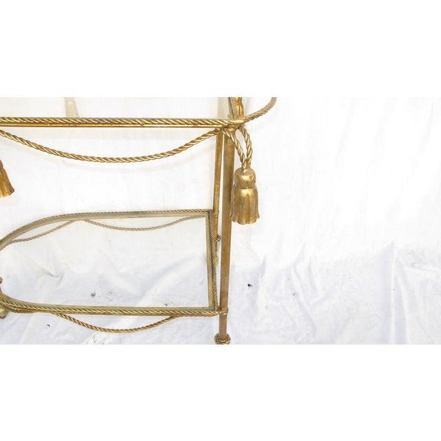 Hollywood Regency Gold Leaf Cocktail Cart - Image 4 of 7