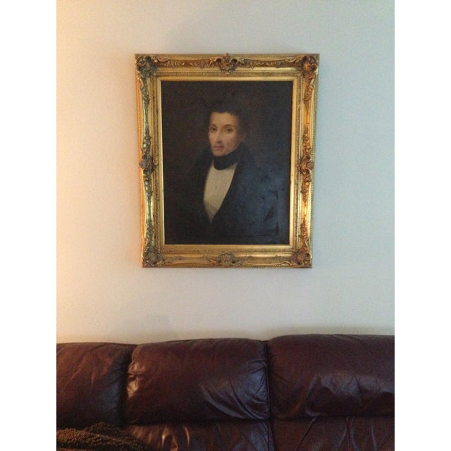 1800s Oil Portrait Painting With Gold Frame - Image 2 of 8