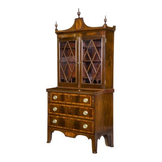 Small Inlaid Mahogany Federal Secretary Desk