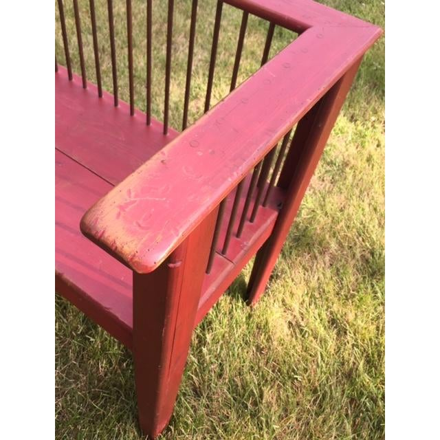 Spindle-Back Red Bench - Image 6 of 11