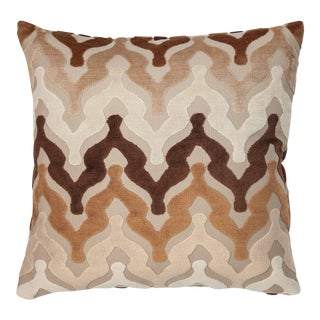 "Piper Collection Wavy Cut Chocolate Velvet ""Bella"" Pillow"