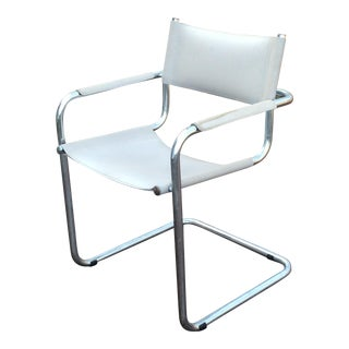 Vintage Mart Stam Breuer Style Tubular Chrome & Gray Leather Chair