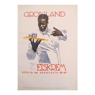 1926 German Poster, Elegant Man Serving Ice Cream