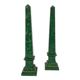Faux Painted Malachite Obelisks - a Pair