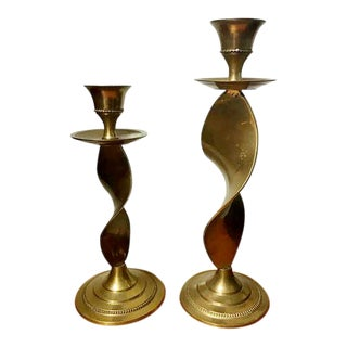 Pair of Antique Twisted Brass Candle Holders